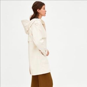 Zara S M Ecru Faux Leather Rain Jacket Parka